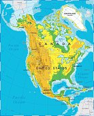 Highly detailed colored vector illustration of North America map -
