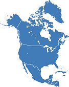 Highly detailed map of North America for your design and products.