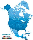 High detailed blue North America Map with navigation icons and Flag