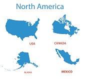 north america - vector maps of territories