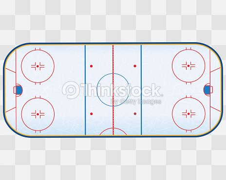 North American ice hockey rink isolated on transparent checkered background.