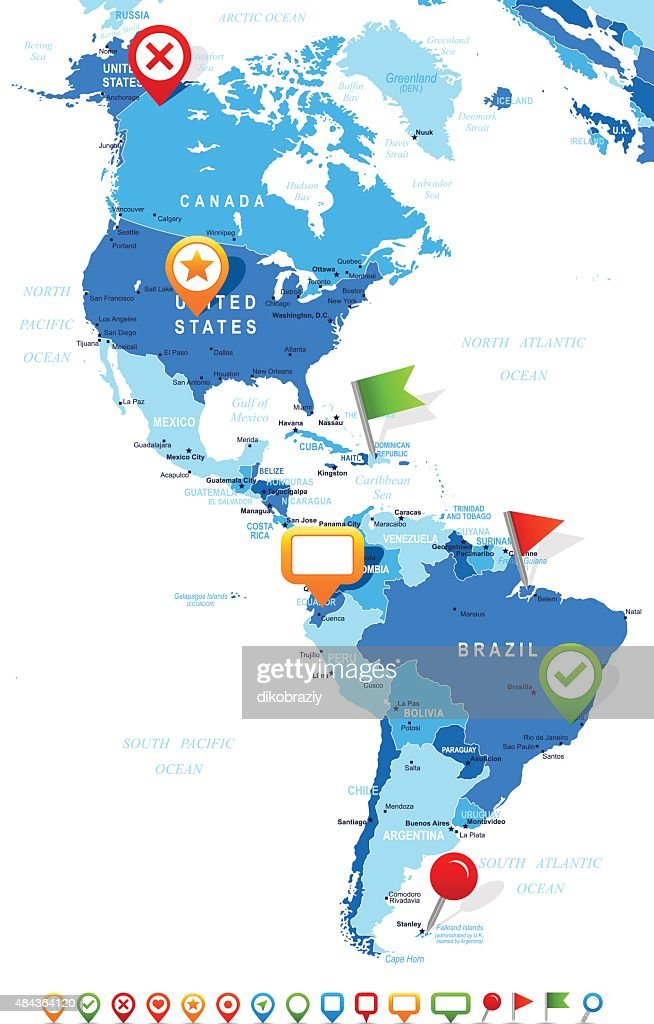 North And South America Map And Navigation Icons Illustration