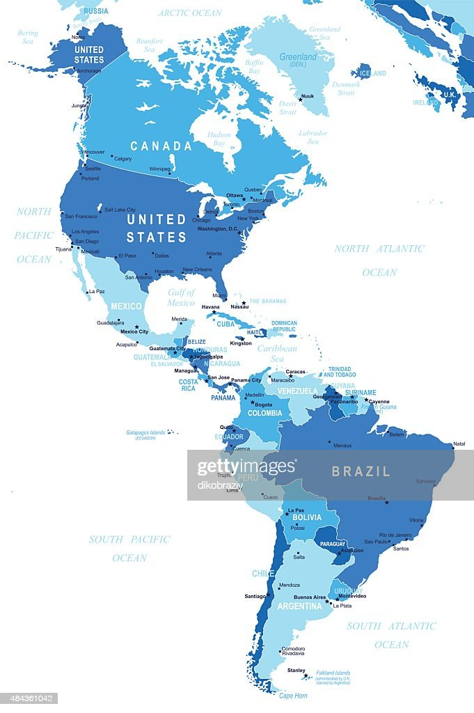 North And South America Map Illustration Vector Art Thinkstock