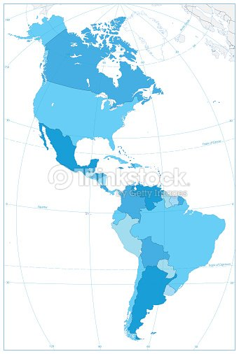 North And South America Map In Colors Of Blue No Text Vector Art