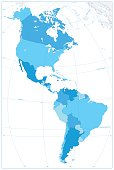 North and South America Map In Colors Of Blue. No text. Vector illustration.