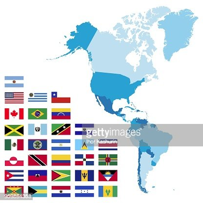 North and South America maps and flags : stock vector