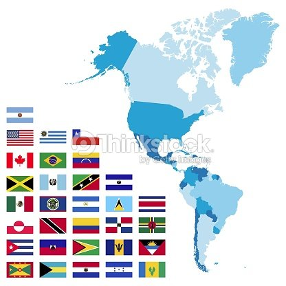 North And South America Maps And Flags Vector Art | Thinkstock
