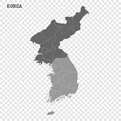 North and South Korea vector map isolated on transparent background.