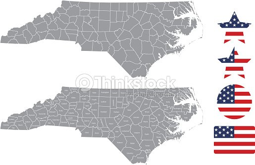 North Carolina County Map Vector Outline In Gray Background North ...