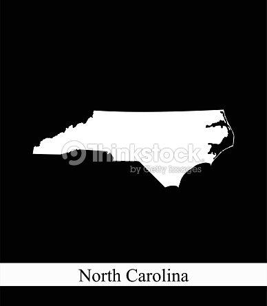 North Carolina State Of Usa Map Vector Outline Illustration Black ...