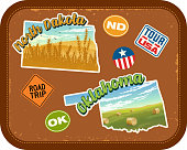 North Dakota, Oklahoma travel stickers with scenic attractions and retro text. State outline shapes. State abbreviations and tour USA stickers. Vintage suitcase background