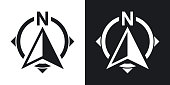 North direction compass icon, stock vector. Two-tone version on black and white background