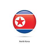 North Korea flag - round glossy button. Vector Illustration.