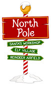 Vector illustration of a holiday sign for the North Pole. Illustration uses no gradients, meshes or blends, only solid color. Includes AI10-compatible .eps format, along with a high-res .jpg.