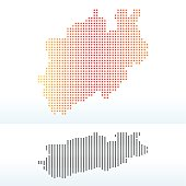 Map of North Rhine-Westphalia, Germany with Dot Pattern