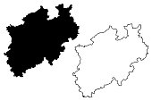 North Rhine-Westphalia (Federal Republic of Germany, State of Germany, NRW) map vector illustration, scribble sketch North Rhine-Westphalia map