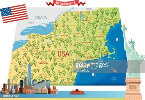 Northeastern Us Vector Art Getty Images - Northeastern usa map
