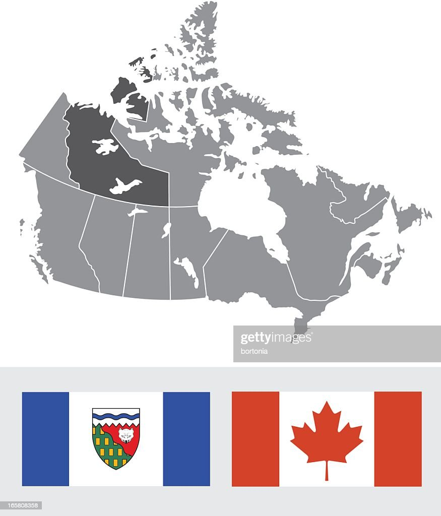 Northwest Territories Canada Map And Flag Vector Art Getty Images