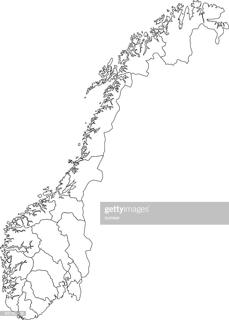 Norway Map Network Black And White Vector Art Getty Images - Norway map drawing