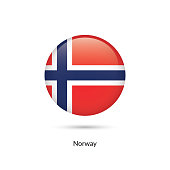 Norway flag - round glossy button. Vector Illustration.