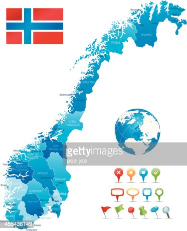Green Map Of Norway States Cities And Flag Vector Art Getty Images - Norway map detailed
