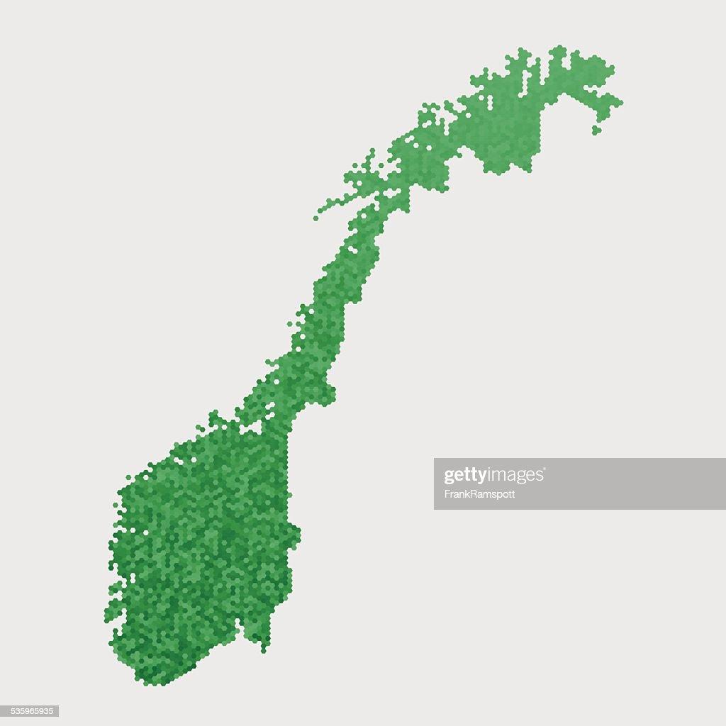 Norway Map Green Hexagon Pattern : Vector Art