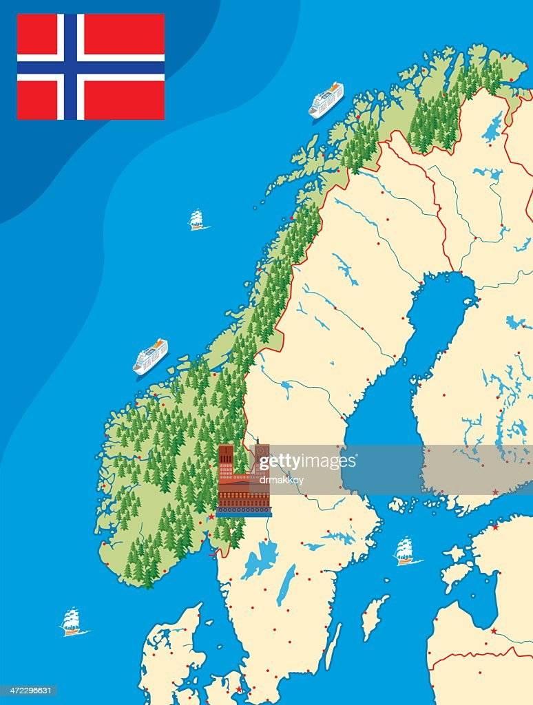 Norway Map Vector Art Getty Images - Norway map picture