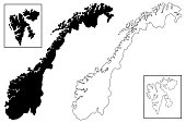 Norway map vector illustration, scribble sketch Norway (Svalbard)