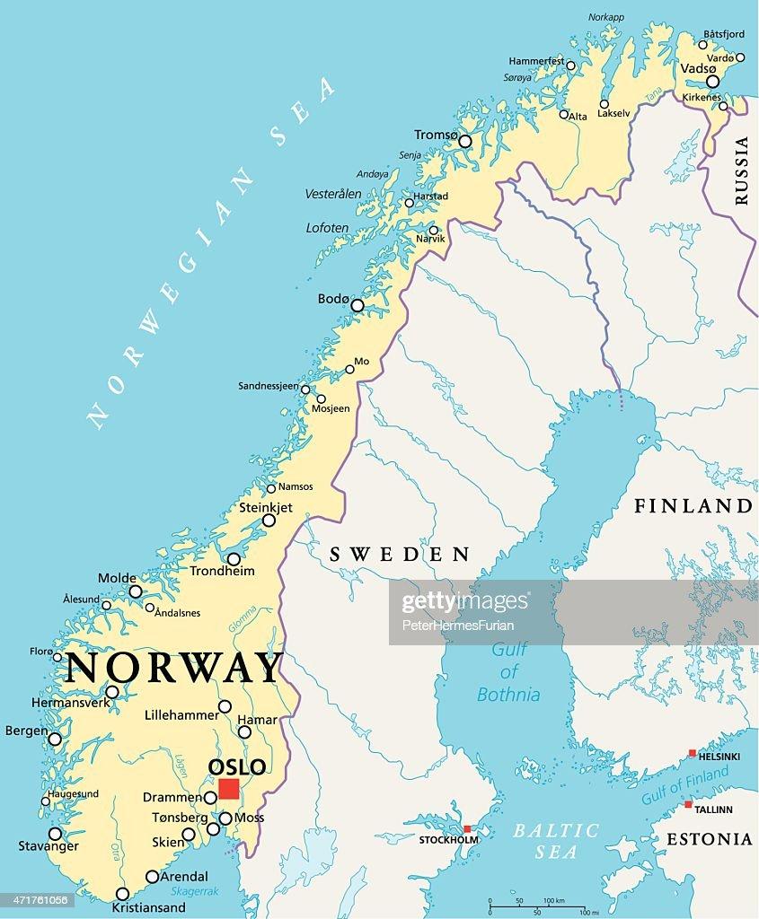 Norway Political Map Vector Art Thinkstock