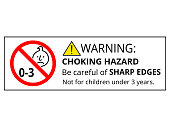 Not suitable for children under 3 years choking hazard forbidden sign sticker isolated on white background vector illustration. Warning triangle and exclamination mark, sharp edges.