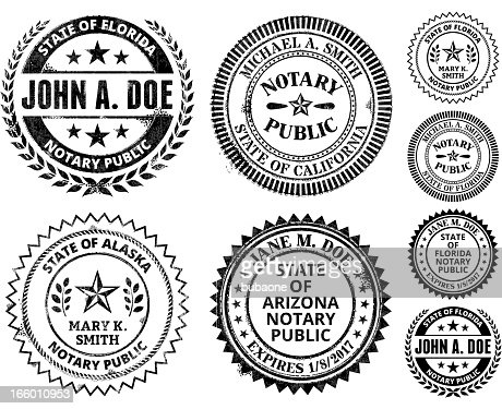 Notary Public Seal Set Alabama Through Georgia Vector Art