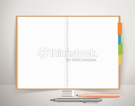 note book with pen and pencil business working elements vector art