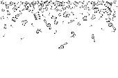 Notes top border. Music decoration element isolated on the white background.