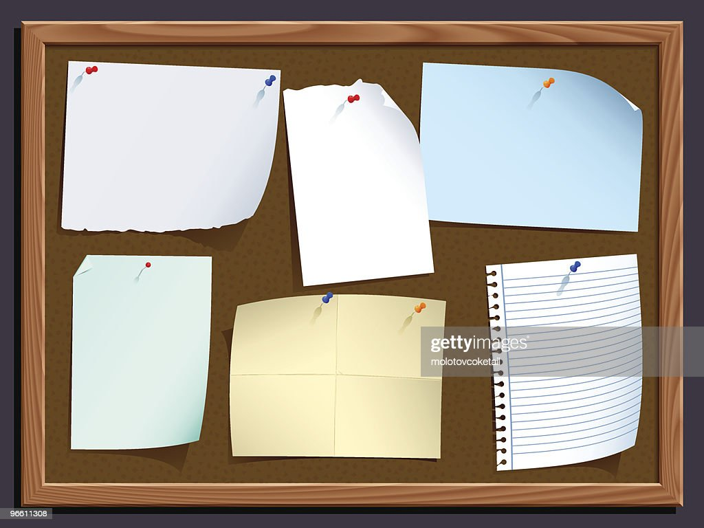 notice board with notes : Vector Art