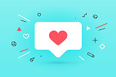 Notifications icon Like, speech bubble. Like icon with heart, one like and shadow for social network on red background. Speech bubble, poster and sticker concept for banner, web. Vector Illustration