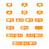 Notifications Icons Template Vector. Social network app symbols of heart like, new message bubble, friend request quantity number. Smartphone application messenger interface web notice
