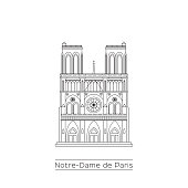 Notre Dame Cathedral in Paris, France. Black and white line drawing in EPS10 vector format.