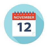 November 12 - Calendar Icon - Vector Illustration