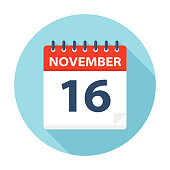 November 16 - Calendar Icon - Vector Illustration