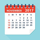 November 2017 calendar - Illustration