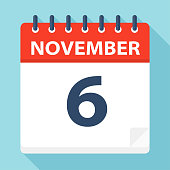 November 6 - Calendar Icon - Vector Illustration