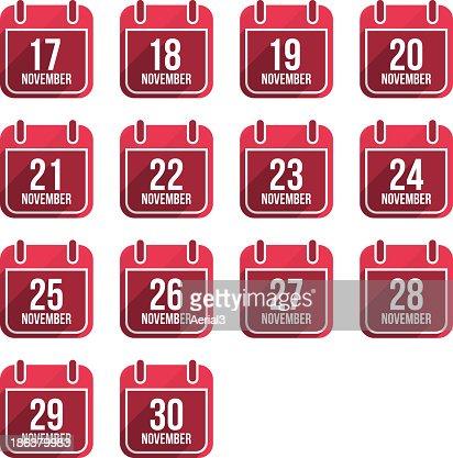 November calendar with long shadow. Days Of Year Set 4 : stock vector