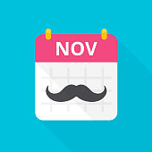 November cancer awareness month icon. Calendar with vintage black curly moustache that remind about annual event. Vector cartoon illustration on blue background.
