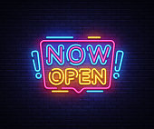 Now Open neon signs vector. Now Open Design template neon sign, light banner, neon signboard, nightly bright advertising, light inscription. Vector illustration.