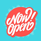 Now open sign. Vector hand drawn illustration.
