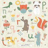 Zoo alphabet with cute animals in cartoon style. n, o, p, q, r, s, t, u  letters. Newt, owl, panda, quail, rabbit, squirrel, tiger, unicorn.
