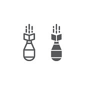 Nuclear bomb line and glyph icon, weapon and military, air bomb sign, vector graphics, a linear pattern on a white background, eps 10.