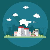 Energy station. The nuclear power plant. Set of elements for construction of urban and village landscapes. Vector flat illustration