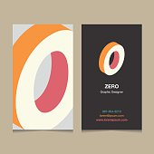 """Number """"0"""", with business card template. Vector graphic design elements for company logo."""