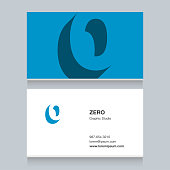 """number """"0"""", with business card template. Vector graphic design elements for company ."""
